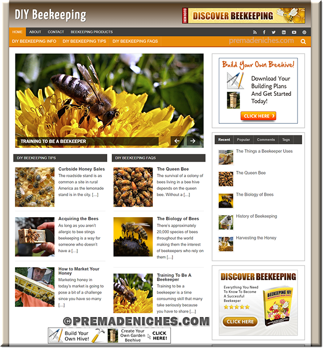 diy beekeeping ready made wordpress website