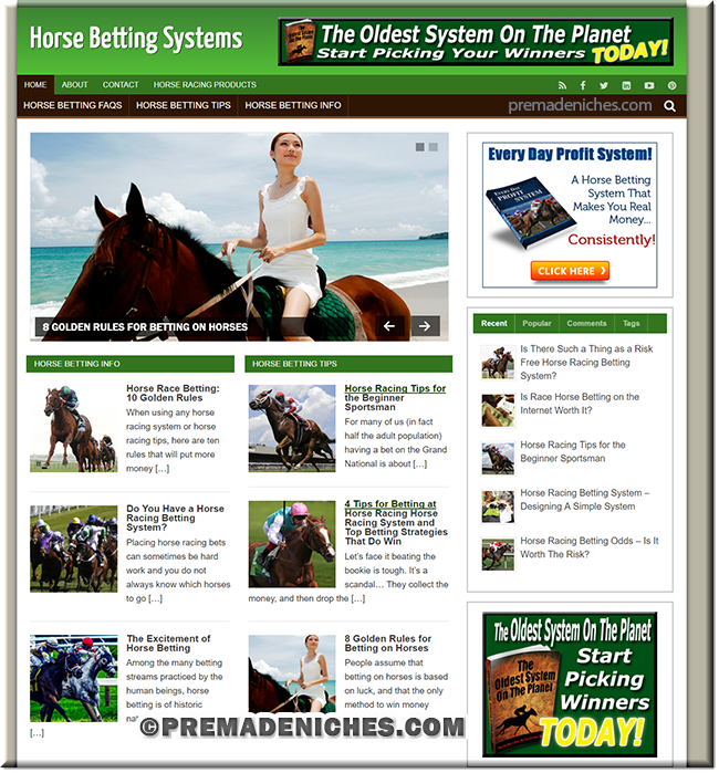 horse racing ready made wordpress site
