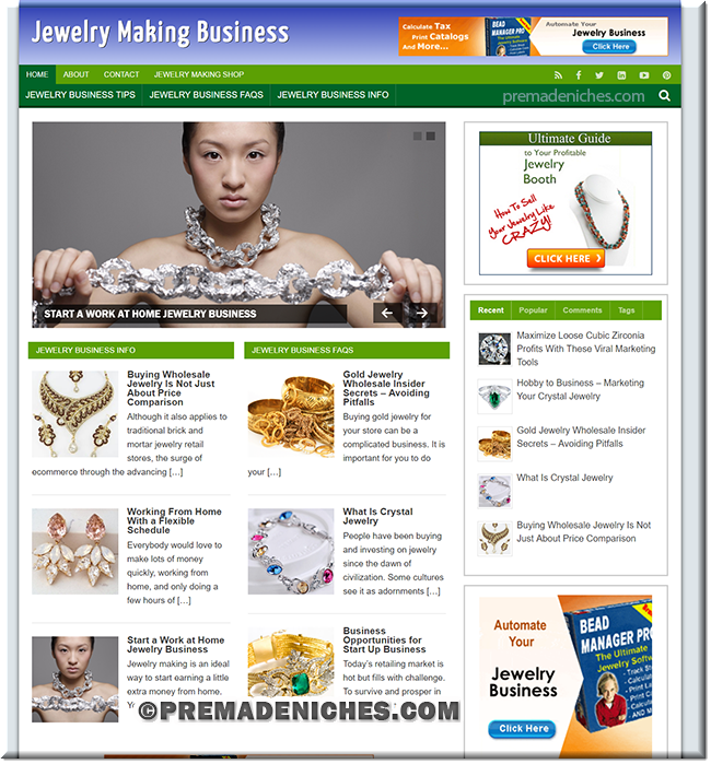 jewelry making ready made wordpress site