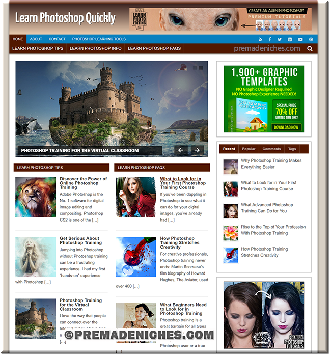 learn photoshop ready made website