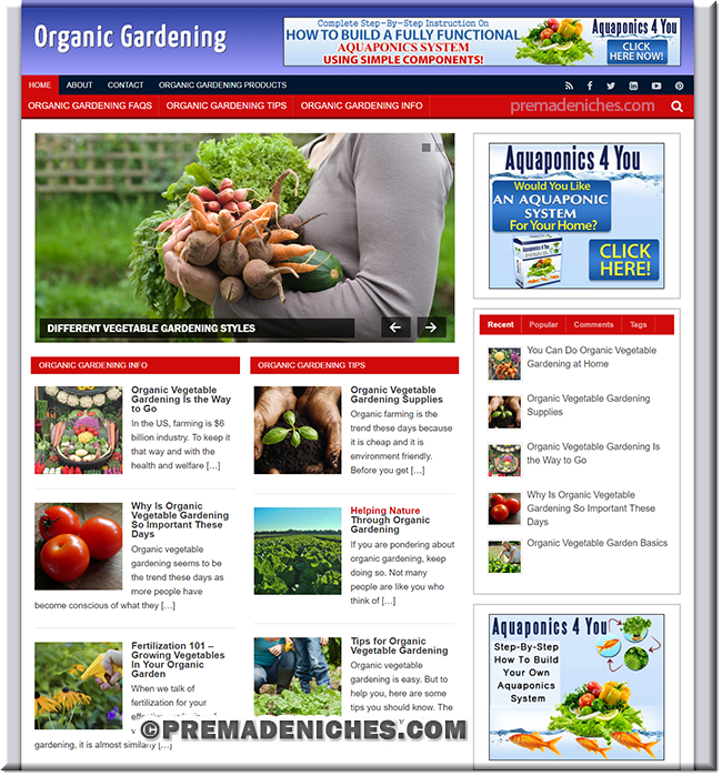 organic gardening ready made niche website