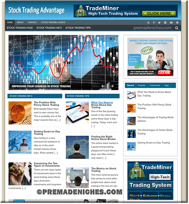 stock trading affiliate site premium wordpress template