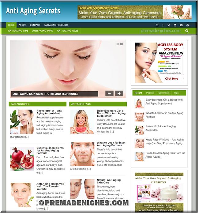 anti aging niche wordpress blog