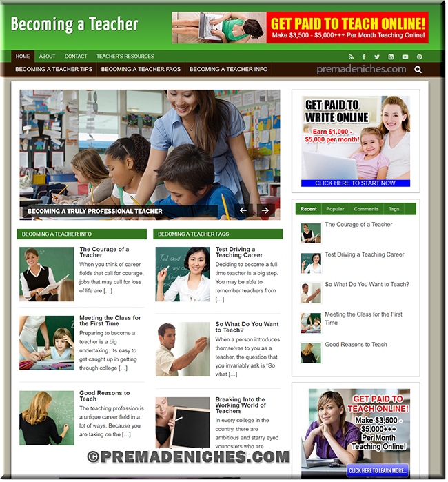 teacher wordpress website