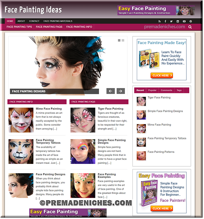 face painting wordpress website templates