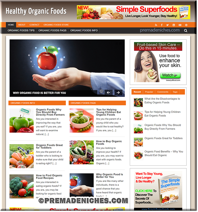 organic foods wordpress designed site