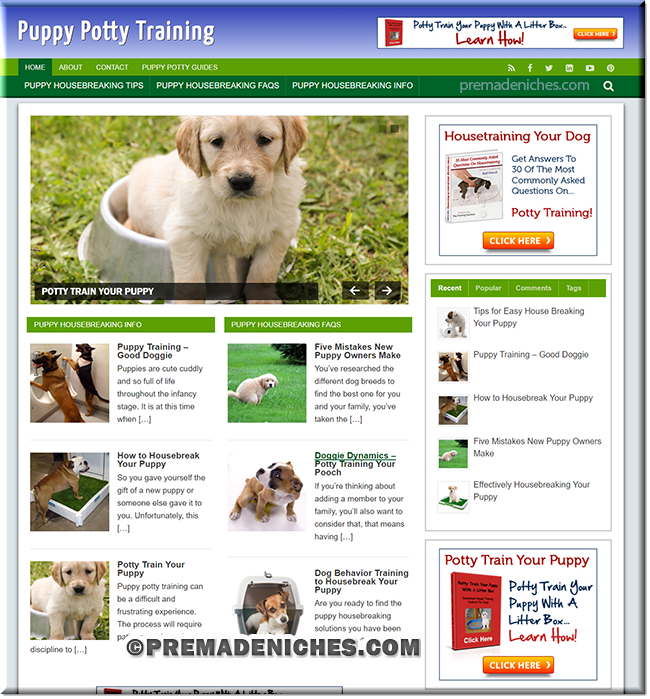puppy potty training WordPress based website