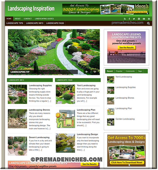 landscaping plr niche affiliate website