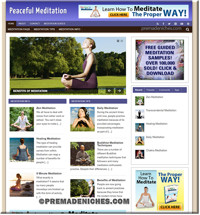 meditation niche plr blog