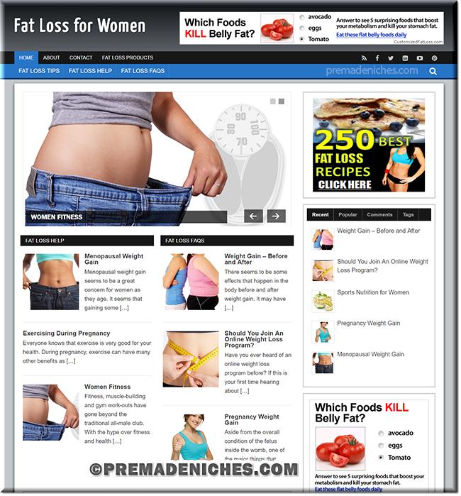 fatloss women plr niche site