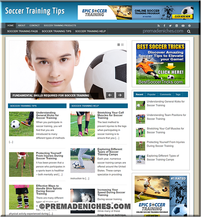 soccer training plr website