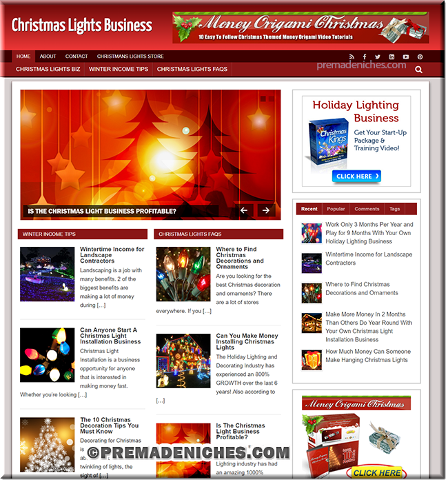 christmas lights business ready made website