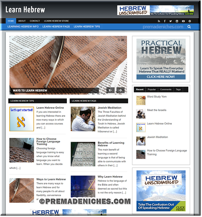 learn hebrew ready made website