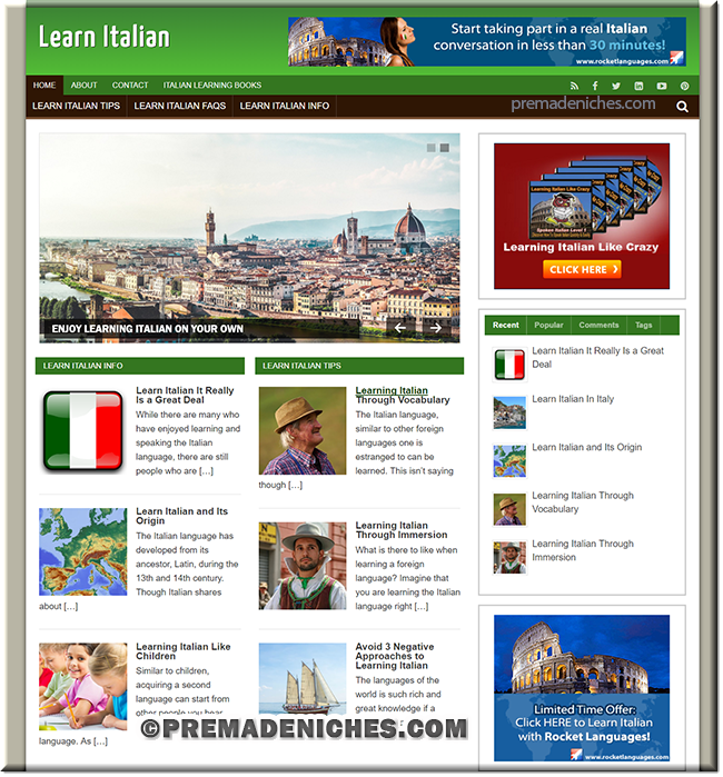 learn italian language plr website
