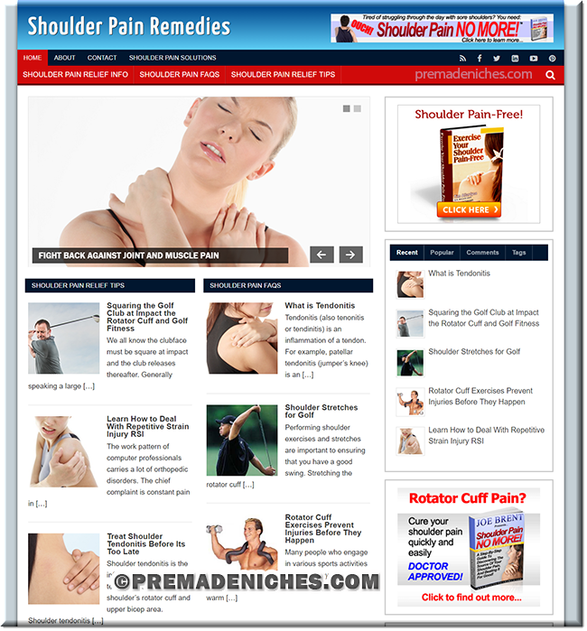 Shoulder Pain Remedies Turnkey Website with PLR