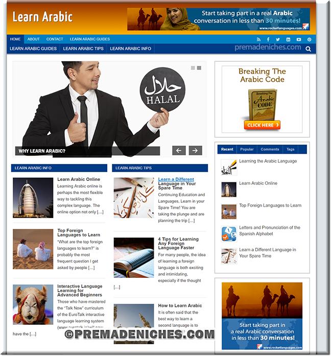 Learn Arabic Niche Site with Private Label License