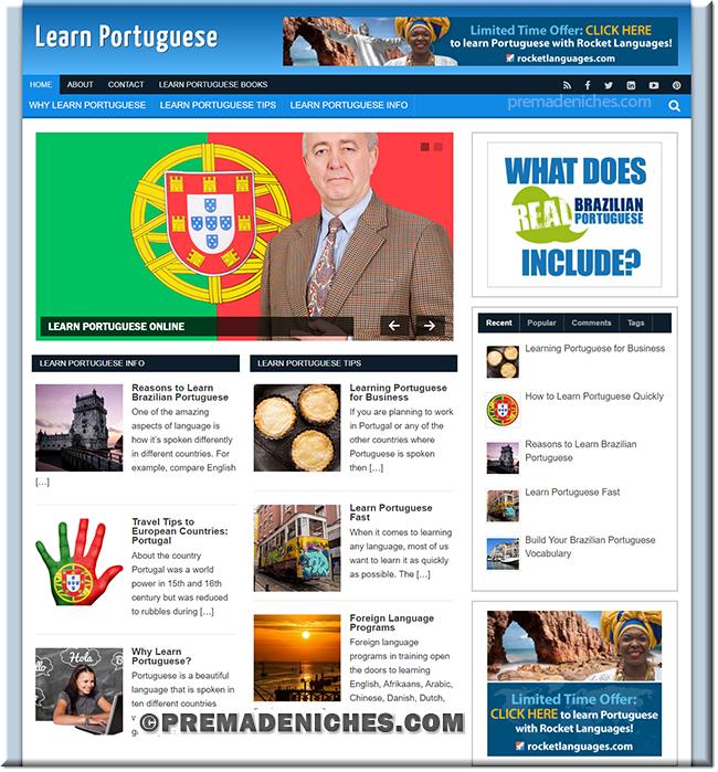 learn portuguese niche site