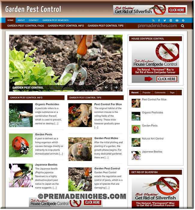 Garden Pest Control Ready Made Website