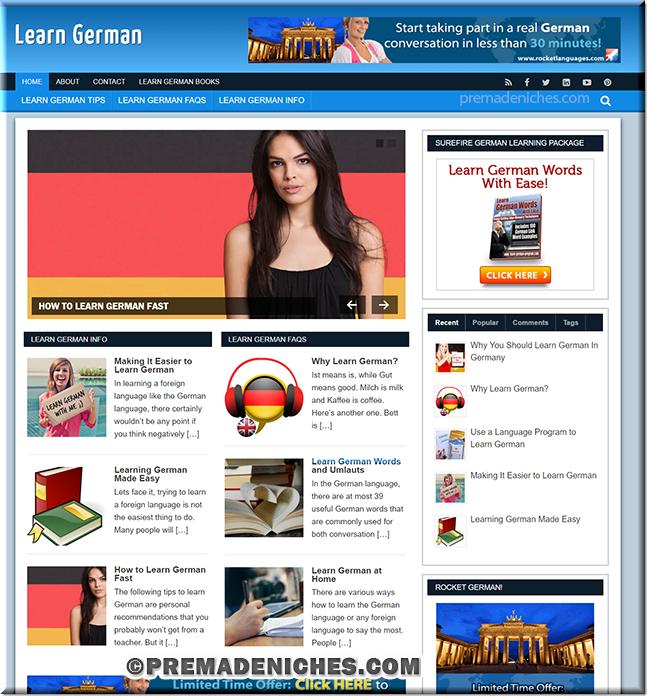 Learn German Ready Made Website