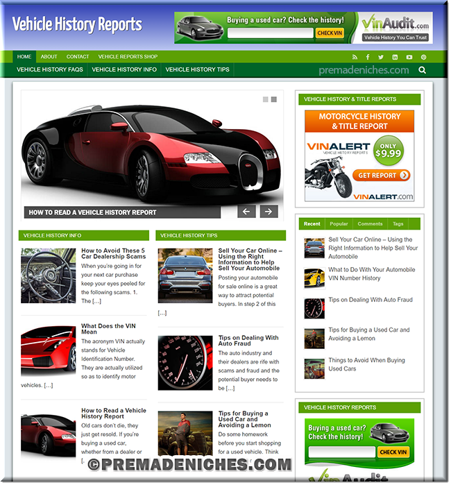 Vehicle History Reports - Ready Made Website with PLR