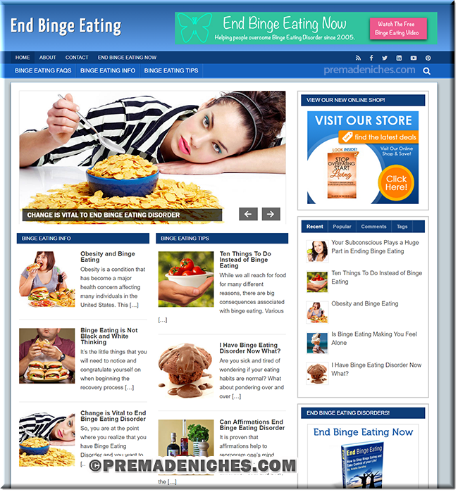 binge eating niche plr blog