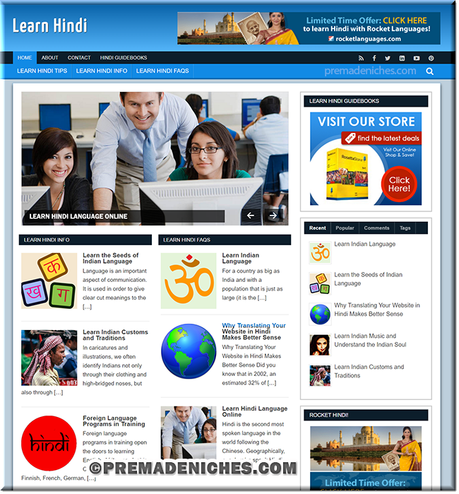 learn hindi niche website