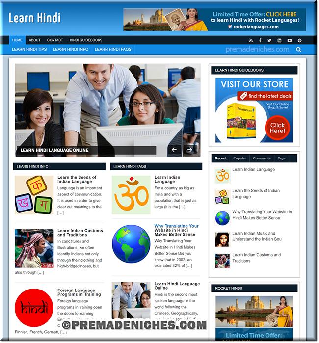 learn hindi niche website