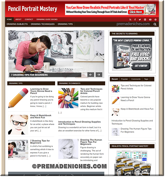 Pencil Portrait PLR Site