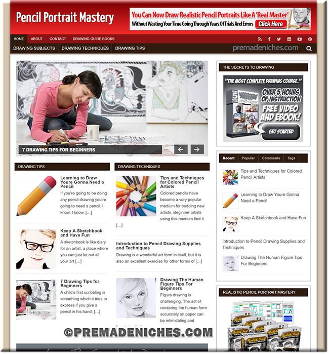 Pencil Portrait PLR Site