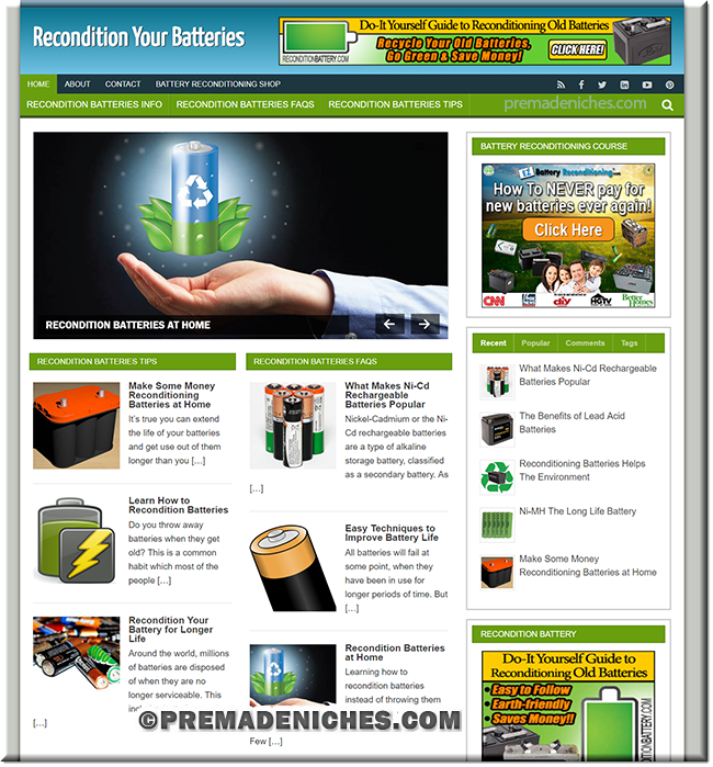 Recondition Battery PLR Turnkey Site