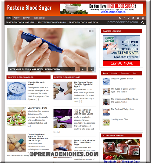 Restore Blood Sugar - Ready Made Website with PLR