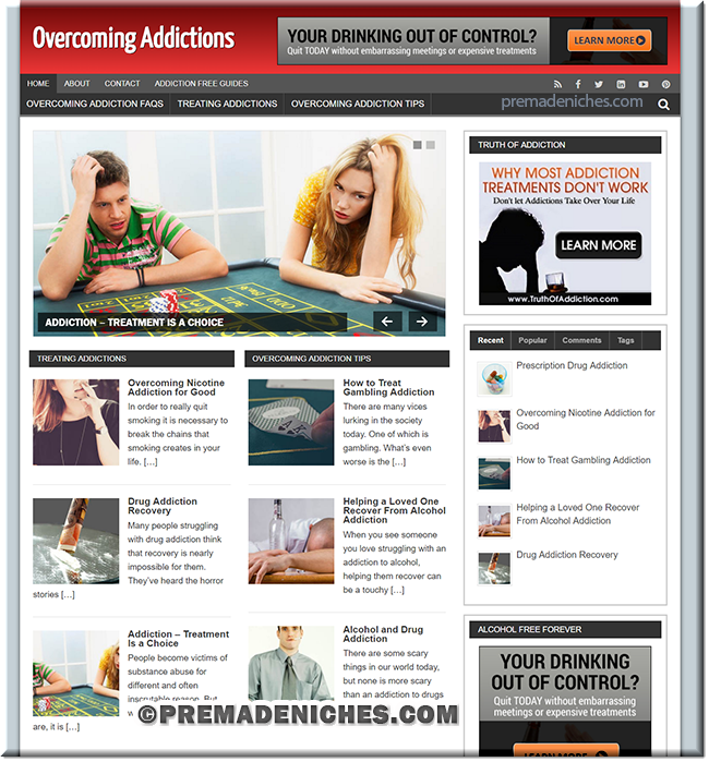 Overcoming Addiction Turnkey PLR Site