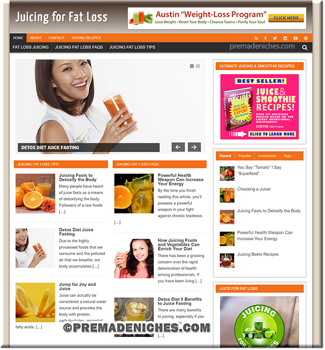 Juicing for Fat Loss PLR Website