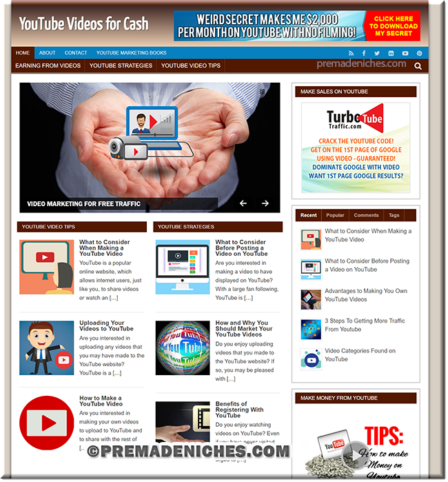 YouTube Cash - Done-for-you Niche Website with PLR