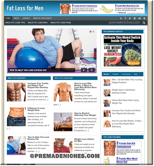 Fat Loss for Men PLR Website