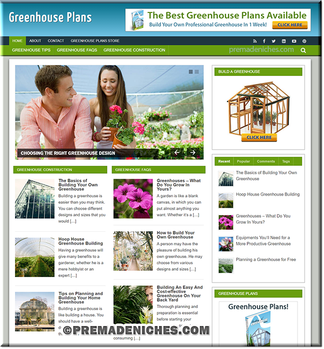 Greenhouse Plans Starter Site with PLR