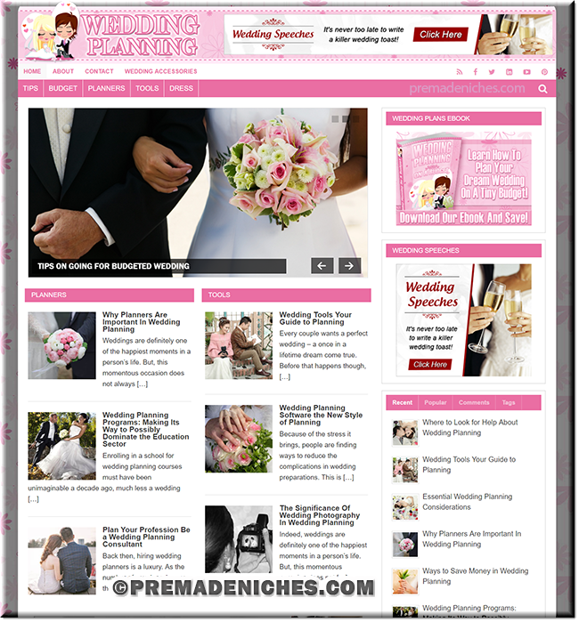 Wedding Planning PLR Website