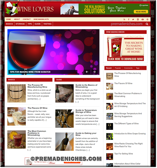 Wine Making Ready Made Website