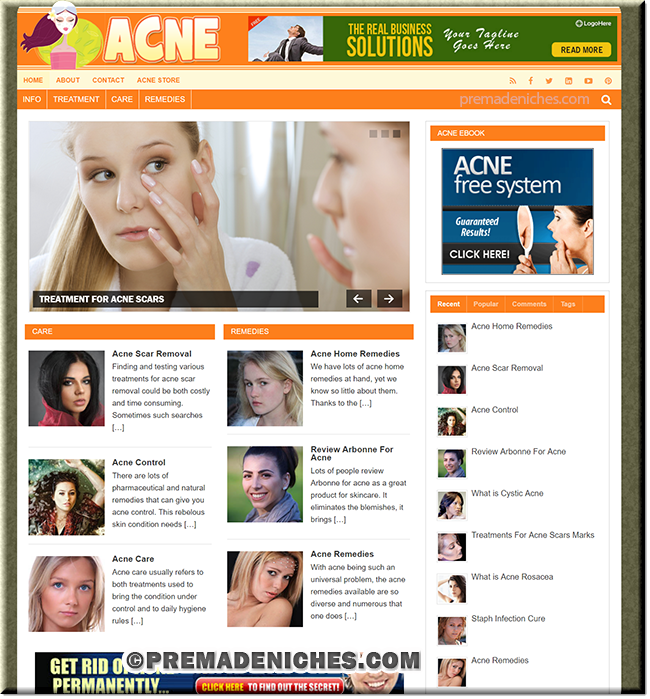 Acne Website With PLR eBook