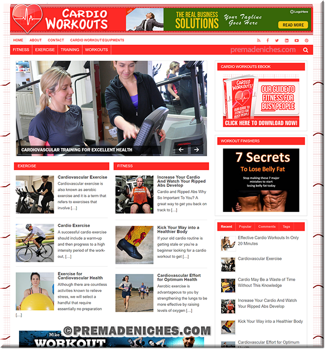 Cardio Workouts PLR Blog With eBook