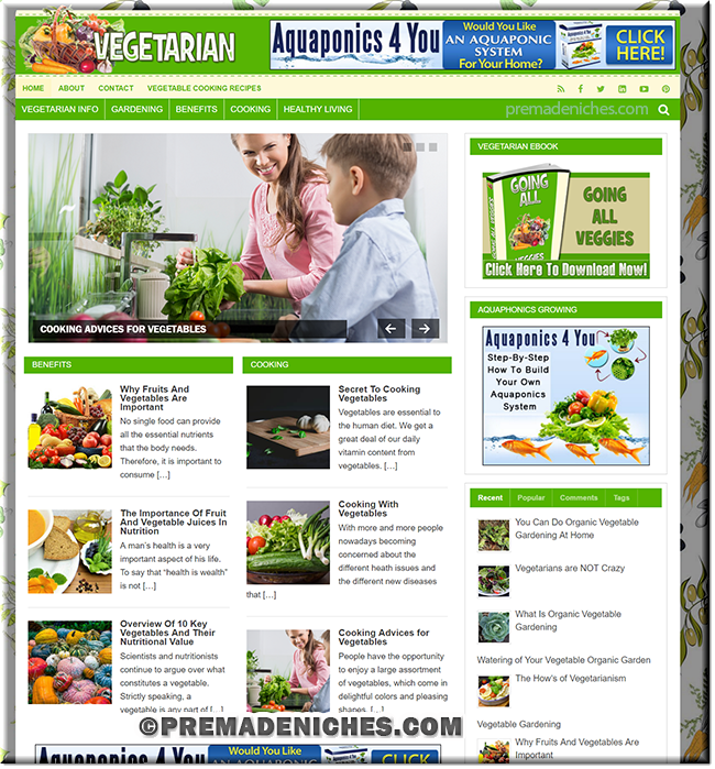 Vegetable PLR Blog with PLR eBook