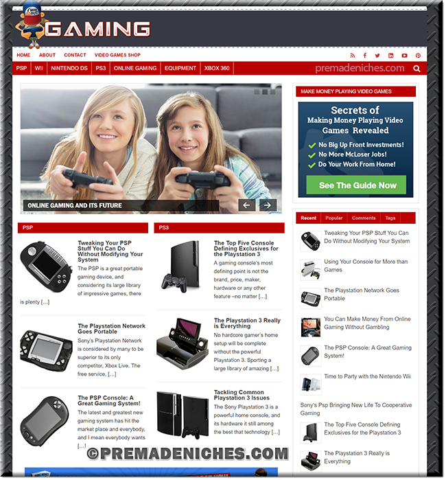 Online Gaming White Label Blog Template