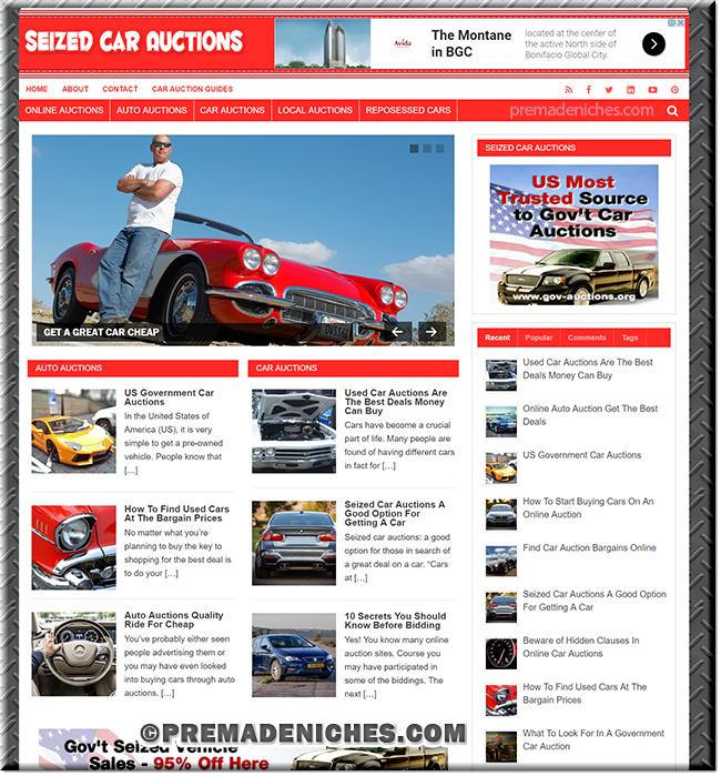 Seized Car Auto PLR Website