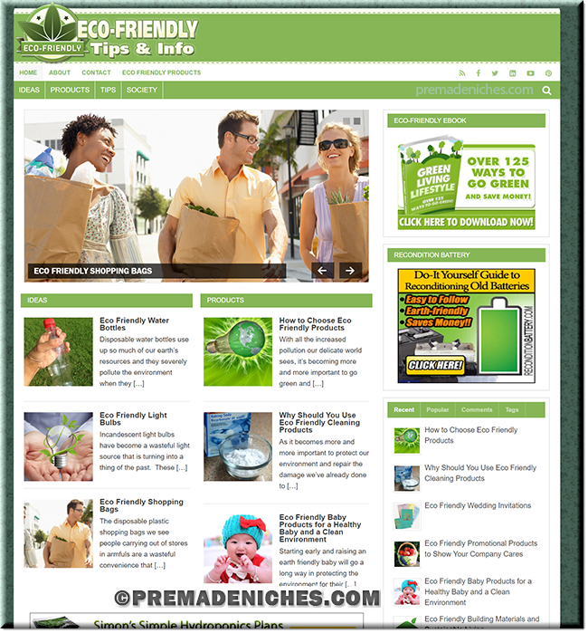 Eco Friendly Living PLR Website