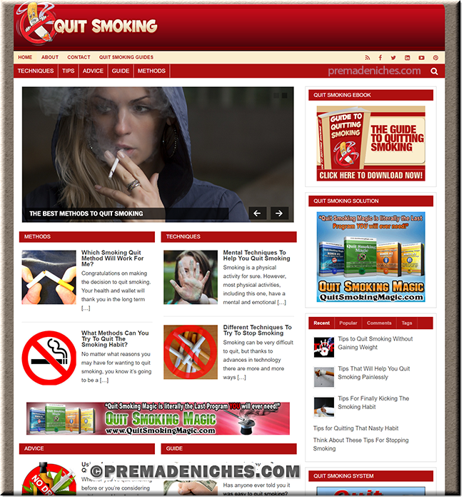 Quit Smoking Turnkey Website with eBook
