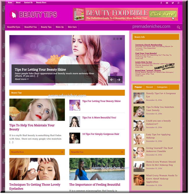 Done-for-You Beauty Tips Site - PLR Package