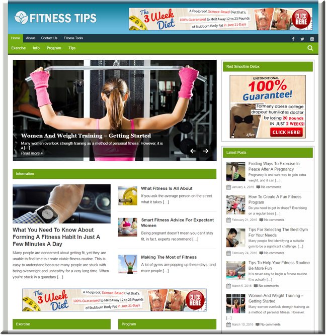 Fitness Tips Turnkey Website