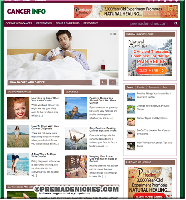 Cancer Information PLR Niche Blog