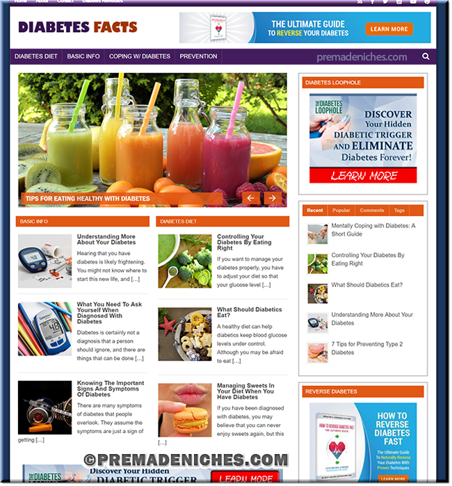 Diabetes Facts Ready Made WordPress Blog