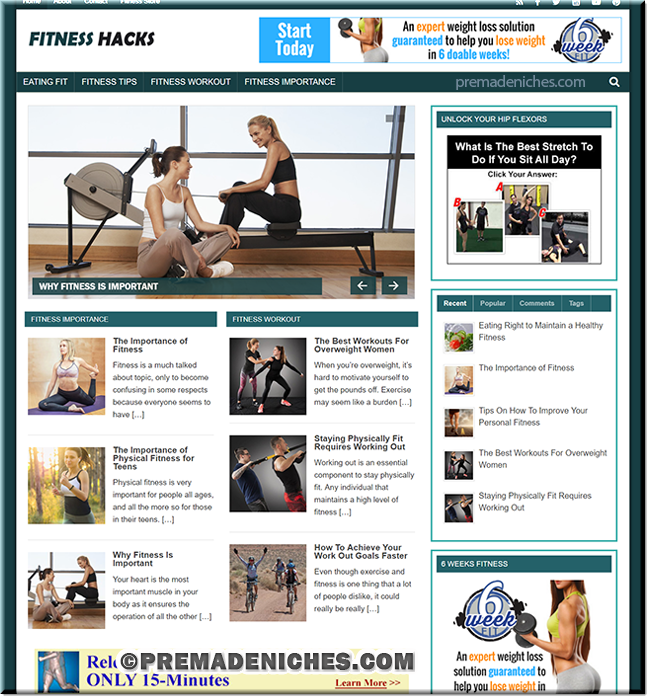 Fitness Hacks PLR Niche Blog
